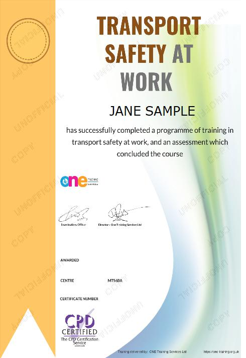 The Final Certificate Of The Transport Safety at Work Course