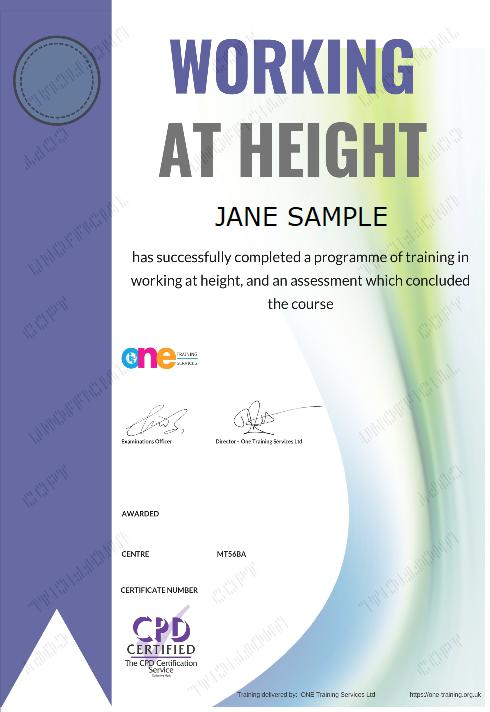 The Final Certificate Of The Working at Height Course